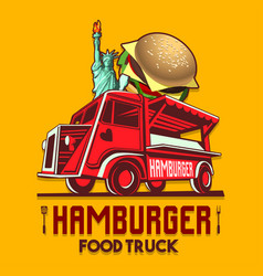 Food truck hamburger burger fast delivery service vector