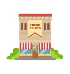 Fruit shop commercial building facade design vector