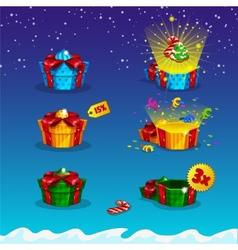 Gift packaging open and closed for game interfaces vector