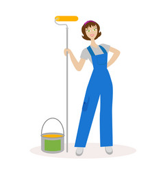 girl painter with a paint roller and paint bucket vector image vector image
