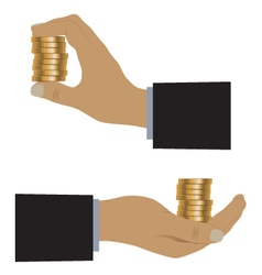Hand with coins vector image vector image