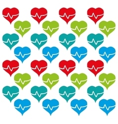 Heart rate colored design seamless pattern vector
