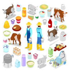 isometric milkman with bottle of milk cow vector image vector image