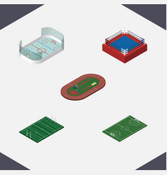 Isometric training set of ice games fighting vector