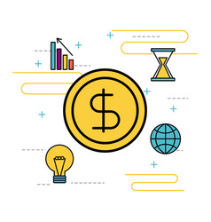 money business idea chart time global icons vector image