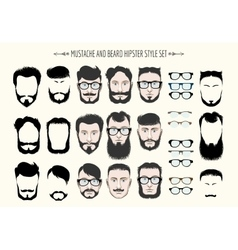 Mustache and Beard Hipster Fashion Set vector image