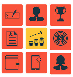 Set of 9 management icons includes coins growth vector