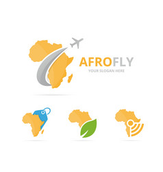 set of africa logo combination safari and travel vector image
