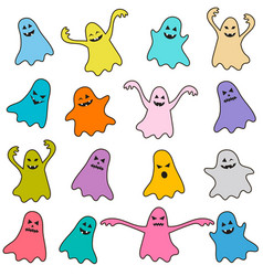 Set of colorful funny ghost icons vector