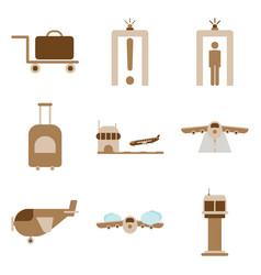 Set of icons in flat design for airport on a white vector