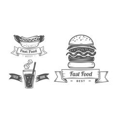 Set of vintage fast food restaurant signs panel vector image