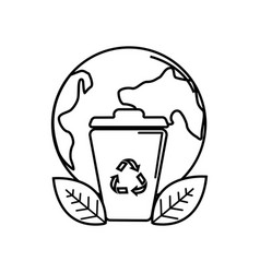 Silhouette planet and can trash with recycling vector