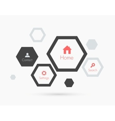 Site template with hexagons Flat design vector image vector image