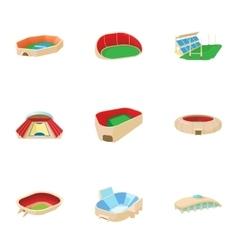 Sports stadium icons set cartoon style vector