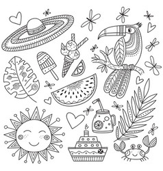 Summer tropical set coloring page vector
