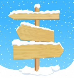 Wooden sign with snow effect vector