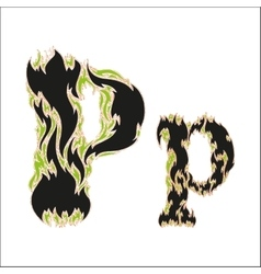 Fiery font black and green letter p on white vector