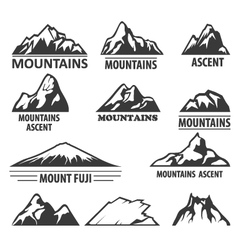 Mountain peaks emblems - alpinism and ascent vector