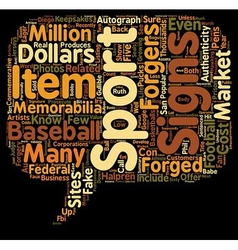 Forged sports memorabilia text background vector