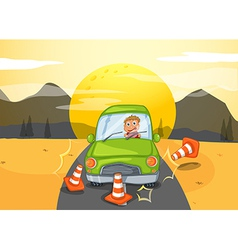 A green car bumping the traffic cones vector