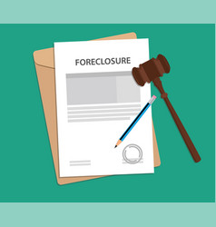 Foreclosure text on stamped paperwork vector
