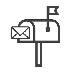 Mailbox line icon letter and website vector