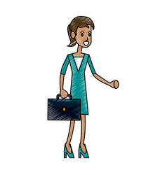 Color pencil full body executive woman with vector