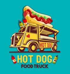 Food truck hot dog fast delivery service logo vector