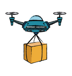 delivery service drone with the package vector image
