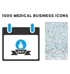 2017 Award Ribbon Calendar Day Icon With 1000 vector image