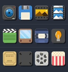 High quality video movie icon set vector