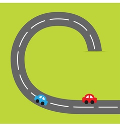 Paper grasss and road cartoon cars vector image
