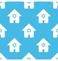Blue judaic house pattern vector