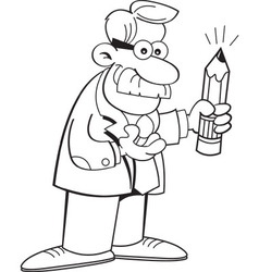 Cartoon teacher holding a pencil vector