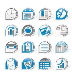 Simple business and office internet icons vector