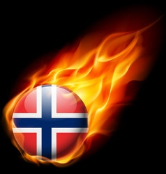 Round glossy icon of norway vector