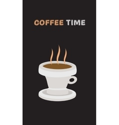 background with hot drink in cup and text vector image