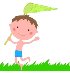 Boy running on the grass with net for buterflies vector