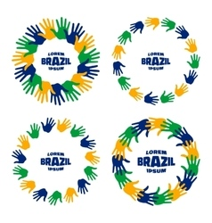 Set of hand print icons using Brazil flag colors vector image