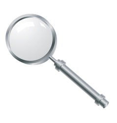 Magnifying glass with a metallic pen vector