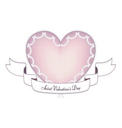 A tender pink heart with a white banner on the day vector