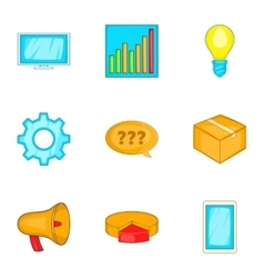 Business strategy marketing finance icons set vector