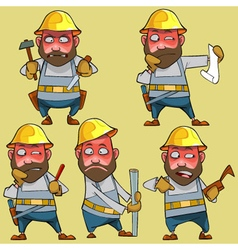Cartoon disgruntled worker in the helmet vector