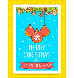 christmas card with balls and hand writte vector image