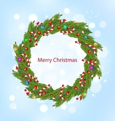 Christmas Wreath New Year Decoration vector image vector image