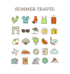 Different thin line color icons set summer travel vector