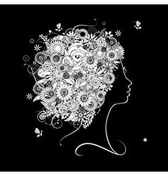 Female profile silhouette floral hairstyle vector image vector image