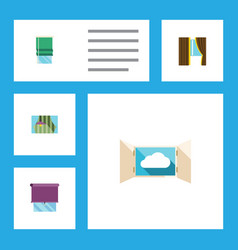 Flat icon glass set of cloud glazing balcony and vector
