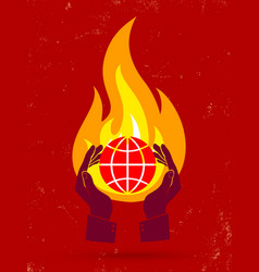 globe fire vector image vector image