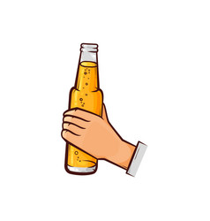 Hand-drawn male hand holding opened beer bottle vector
